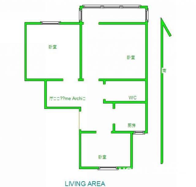 保利罗兰香谷3室2厅1卫88平米整租毛坯