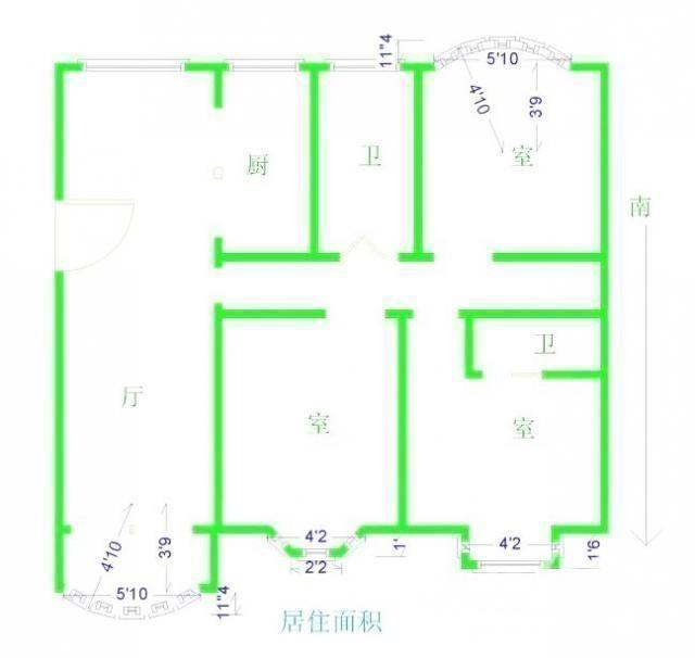 江宁区东山街道上海明珠花园3室2厅户型图