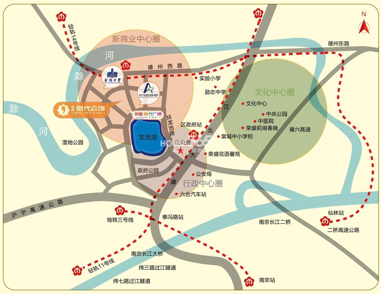 荣盛龙湖半岛交通图