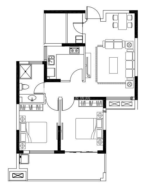 亚东观樾标准层89平方米户型图