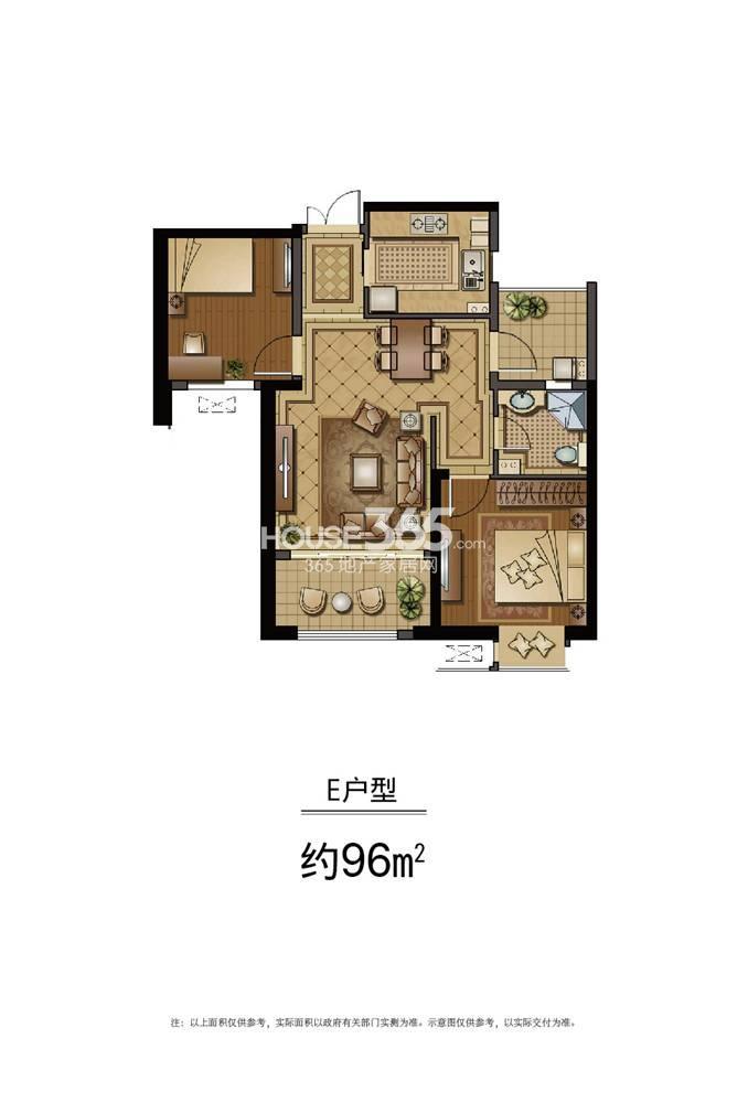 恒盛金陵湾5号楼标准层E户型 96平方米