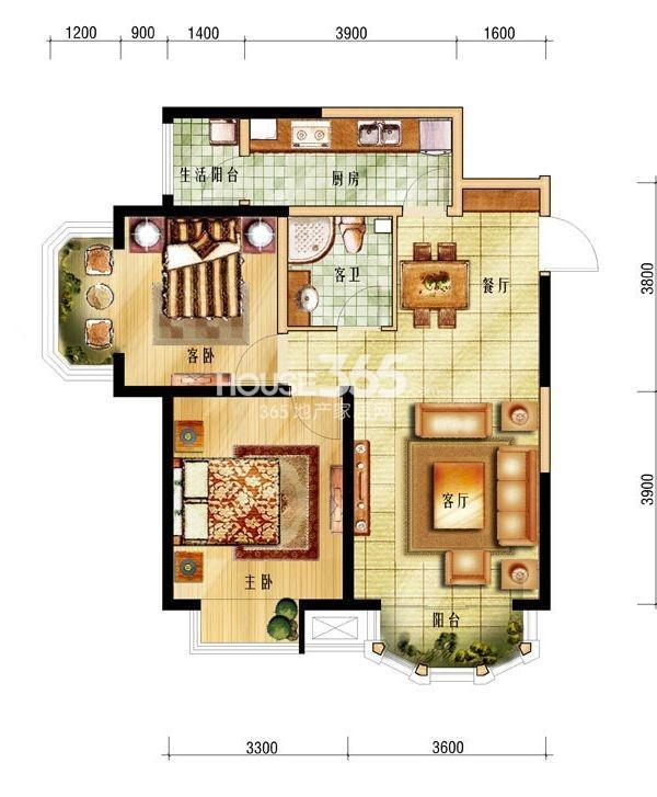 中海城户型图 二室二厅一卫 86㎡