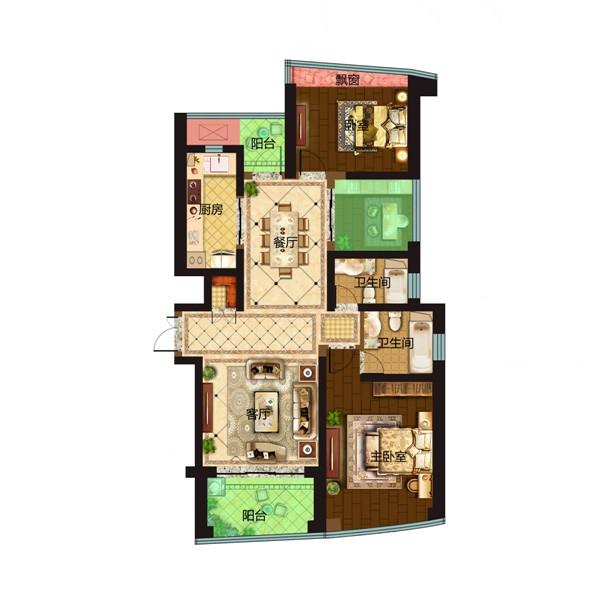 保利达江湾城149平观筑户型图