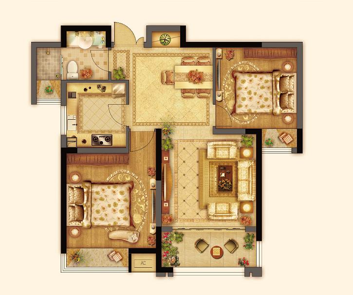 七里香都 马赛曲 A3户型两室两厅一卫 约86平 2013.11.22