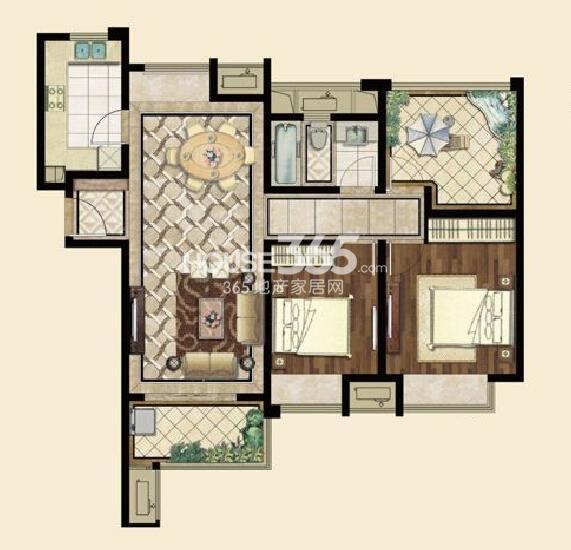 九龙仓碧堤半岛A2户型115平,两房两厅一卫+空中花园