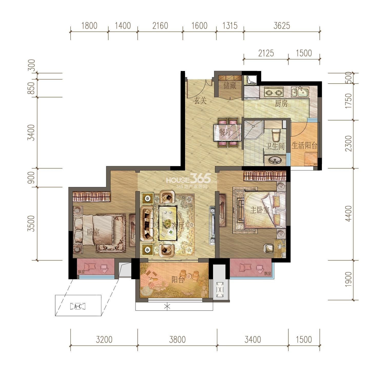 御龙天峰铂庭组团B-1'户型 两房两厅一卫 73平米