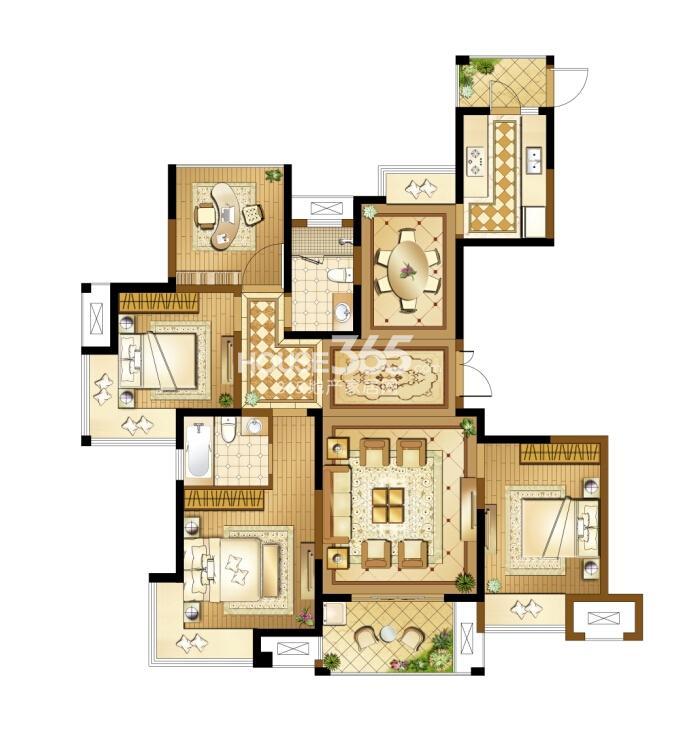 高新地产天之运C3户型图约148平四房两厅两卫