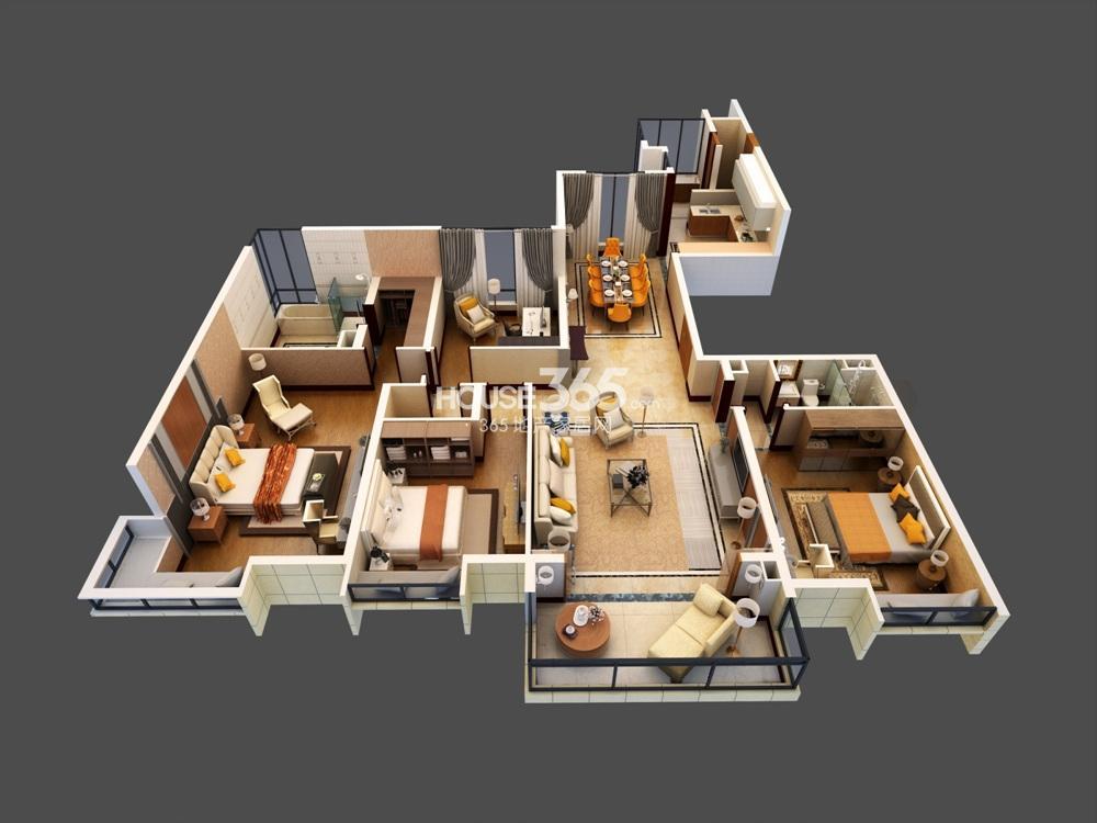 仁恒江湾城206平米户型模型图