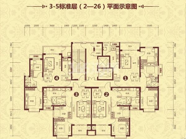 恒大山水城3-5标准层(2-26)平面示意图