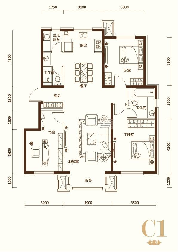 C1户型3室2厅2卫 128平米