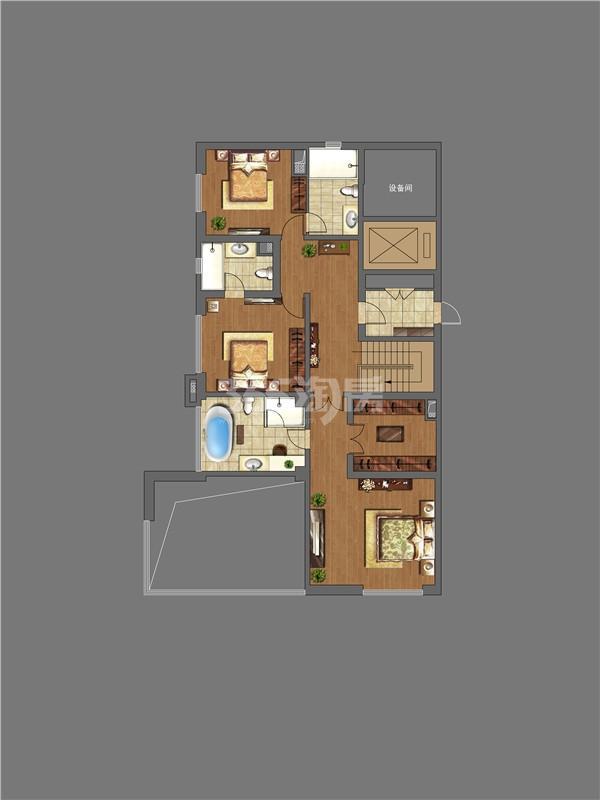 万科大明宫4室2厅4卫1厨299.00㎡户型图上层