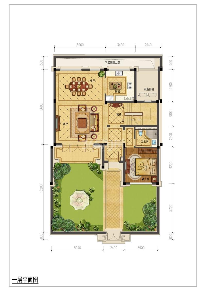 翡翠城月光院子23号楼250S一层平面图