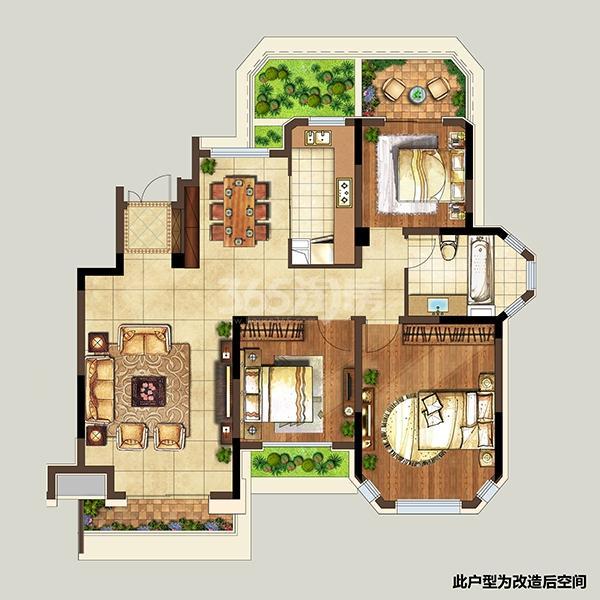 弘阳上湖F4户型图104㎡3室2厅1卫
