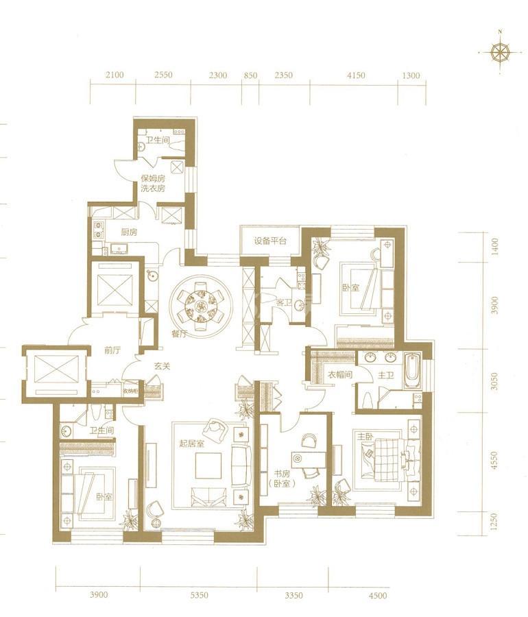 高层3、4号楼标准层D户型