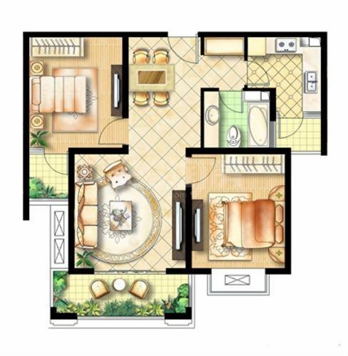 绿地商务城户型图-两室两厅一卫