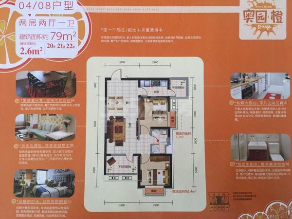 奥园会展广场  两室两厅一卫 79平米