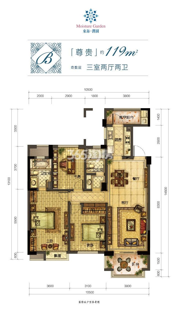 东海水景城润园B户型119方户型图