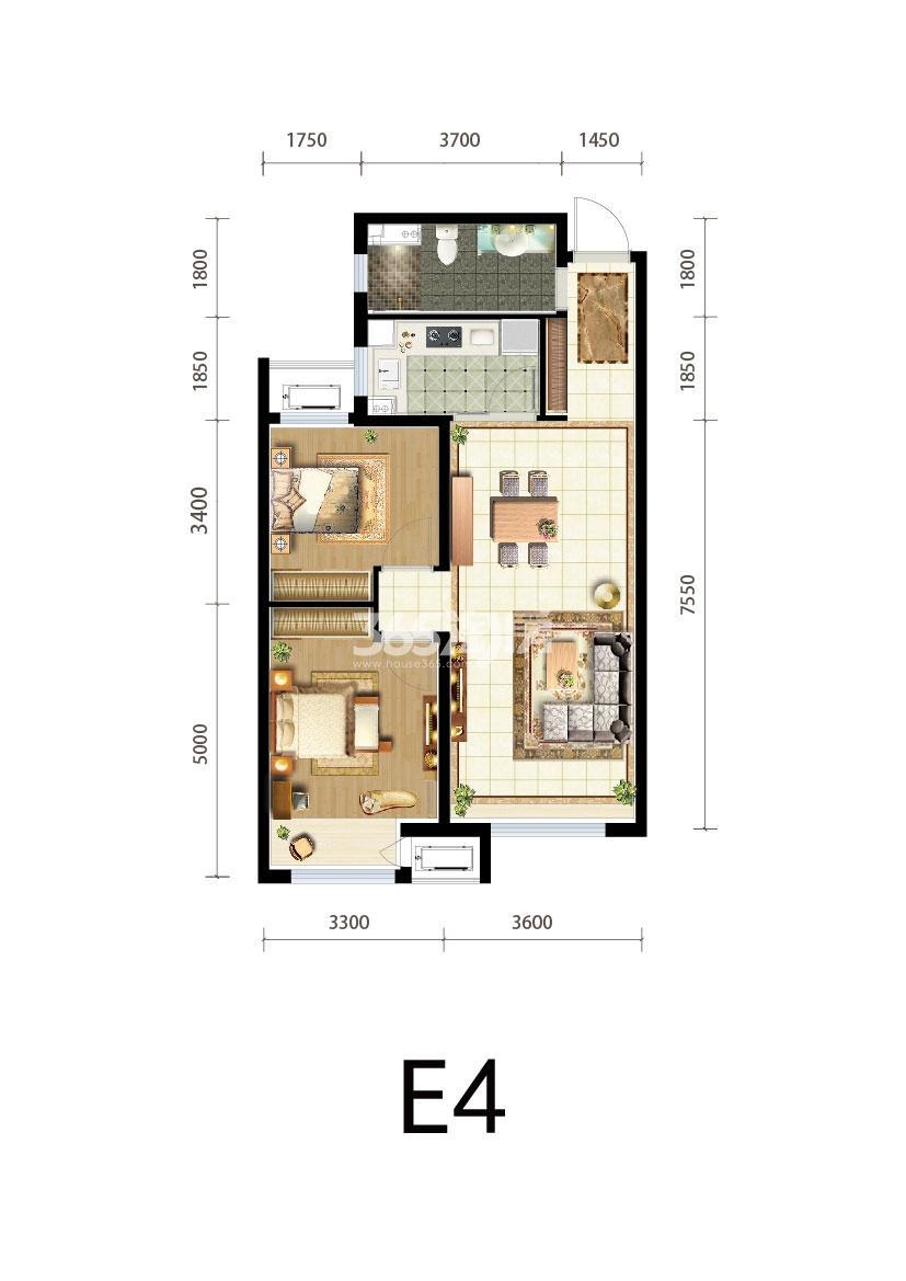 三期E4户型两室两厅90平米