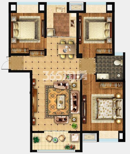 E1户型 约117m2 三室两厅一卫