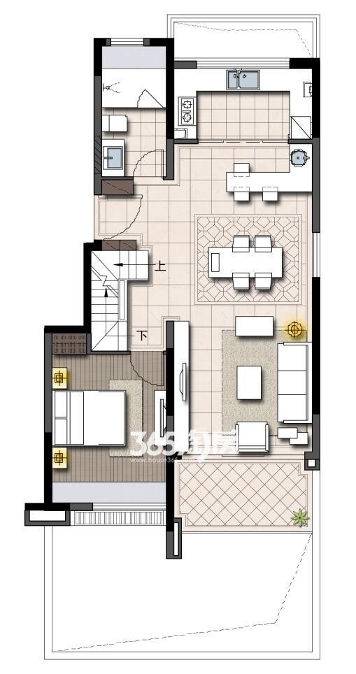 鹭山湖挑高1楼下层(约85平米+86平地下室)