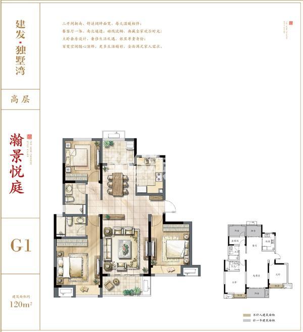 建发独墅湾高层G1户型120㎡