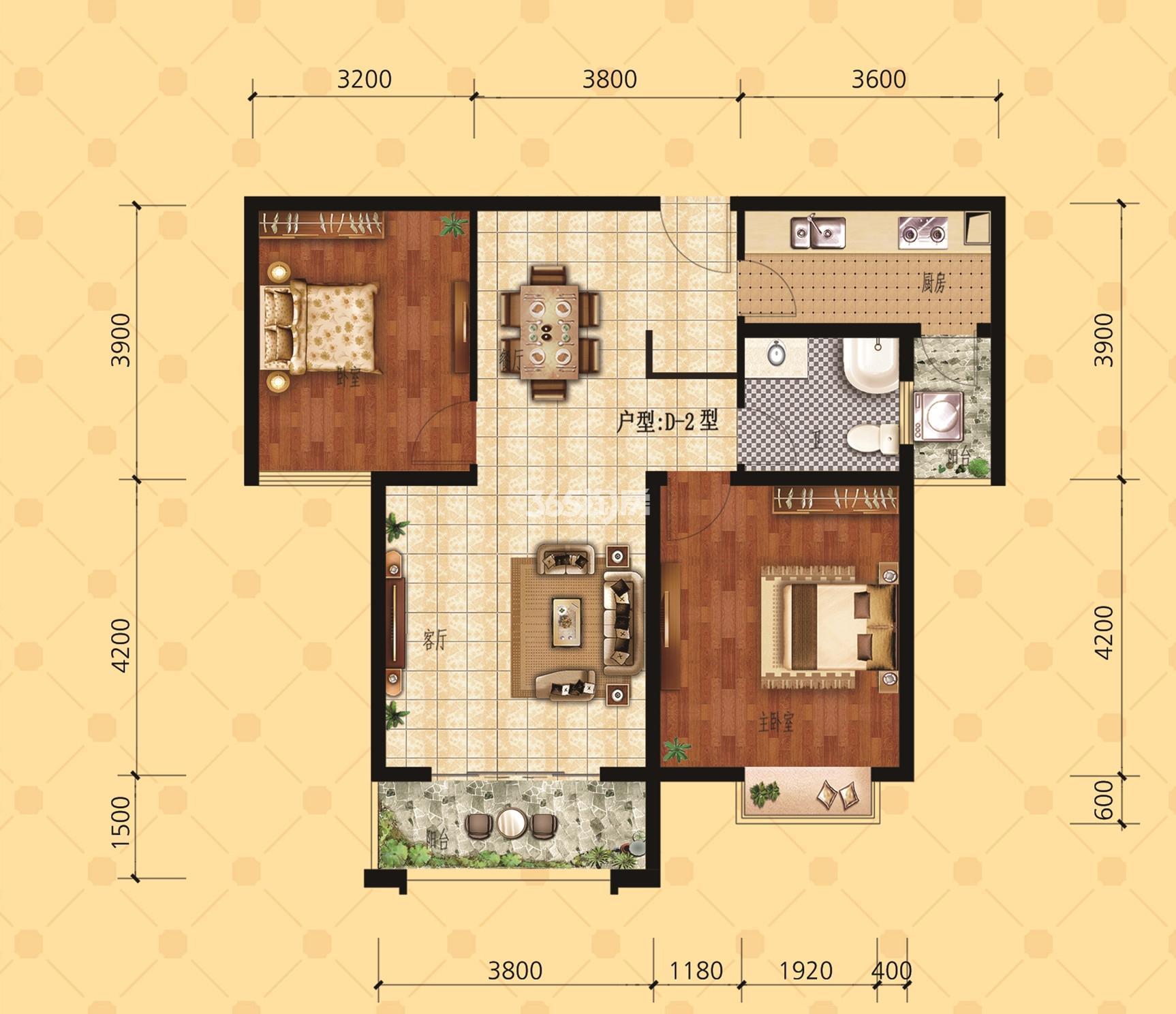 29b户型91.37㎡两室两厅双阳台