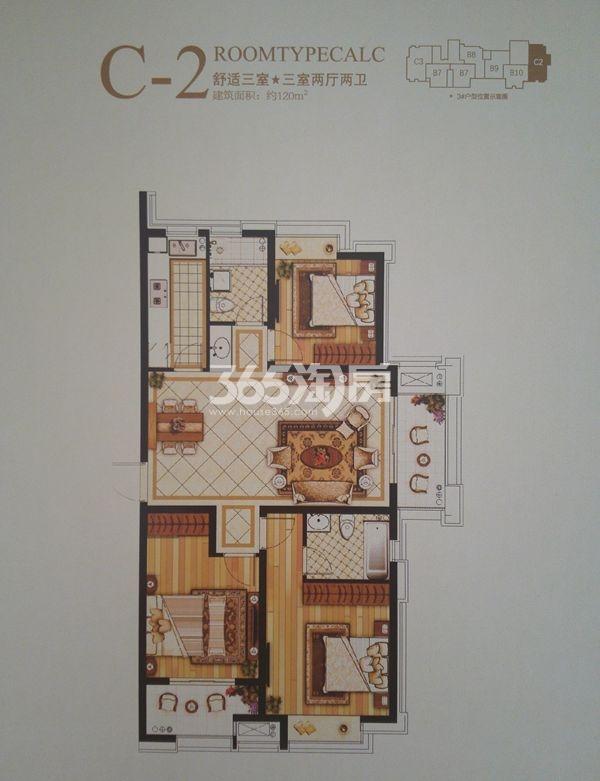 C-2三室两厅两卫户型(120㎡)