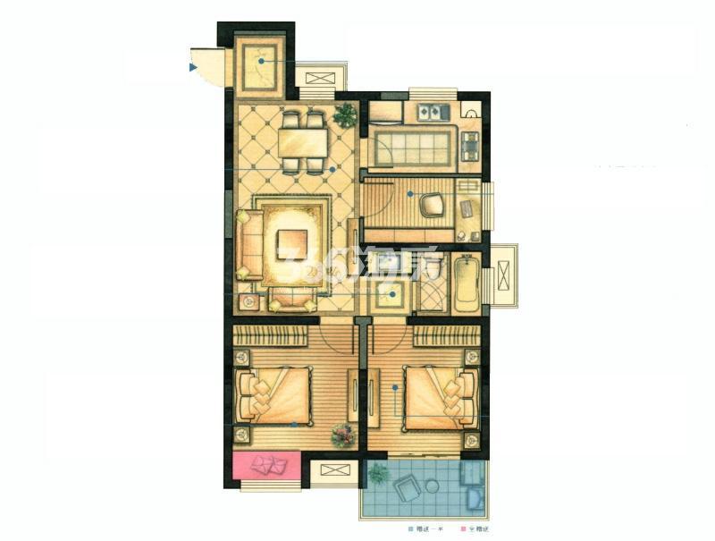红豆香江豪庭二期83平雅韵户型图