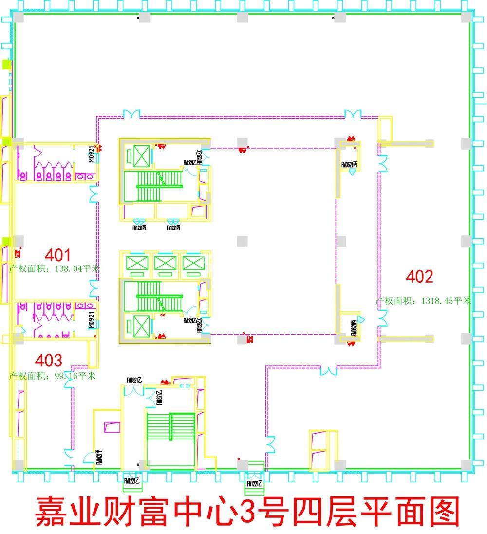 无锡恒大财富中心D栋写字楼4层楼层图