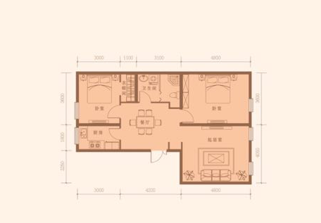 106平米 2室2厅1卫