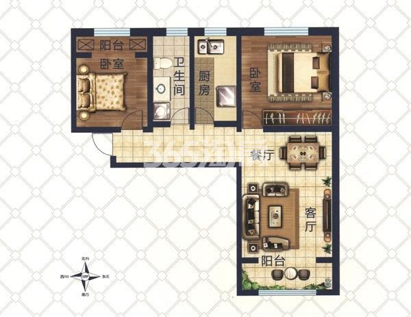A4户型 两室两厅一卫一厨 建筑面积约98.2㎡