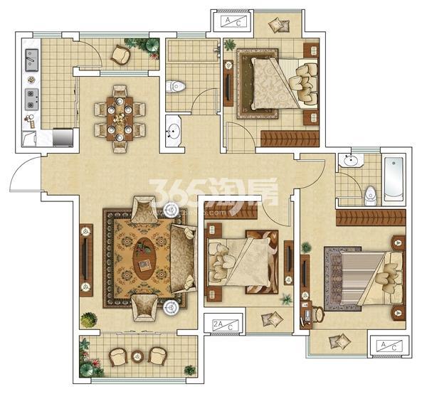 12#A1 三室两厅户型图
