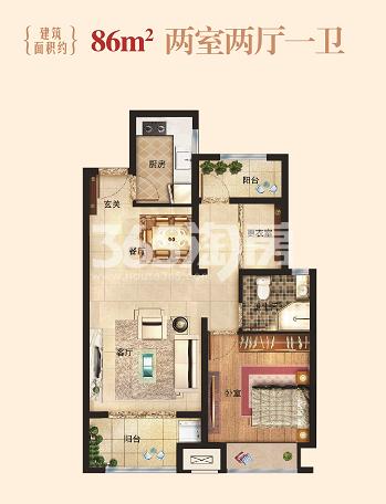 86㎡两室户型