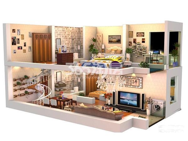 A1户型 3室2厅2卫1厨 建筑面积约96.01平米