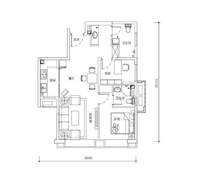 高层82平米两室两厅两卫