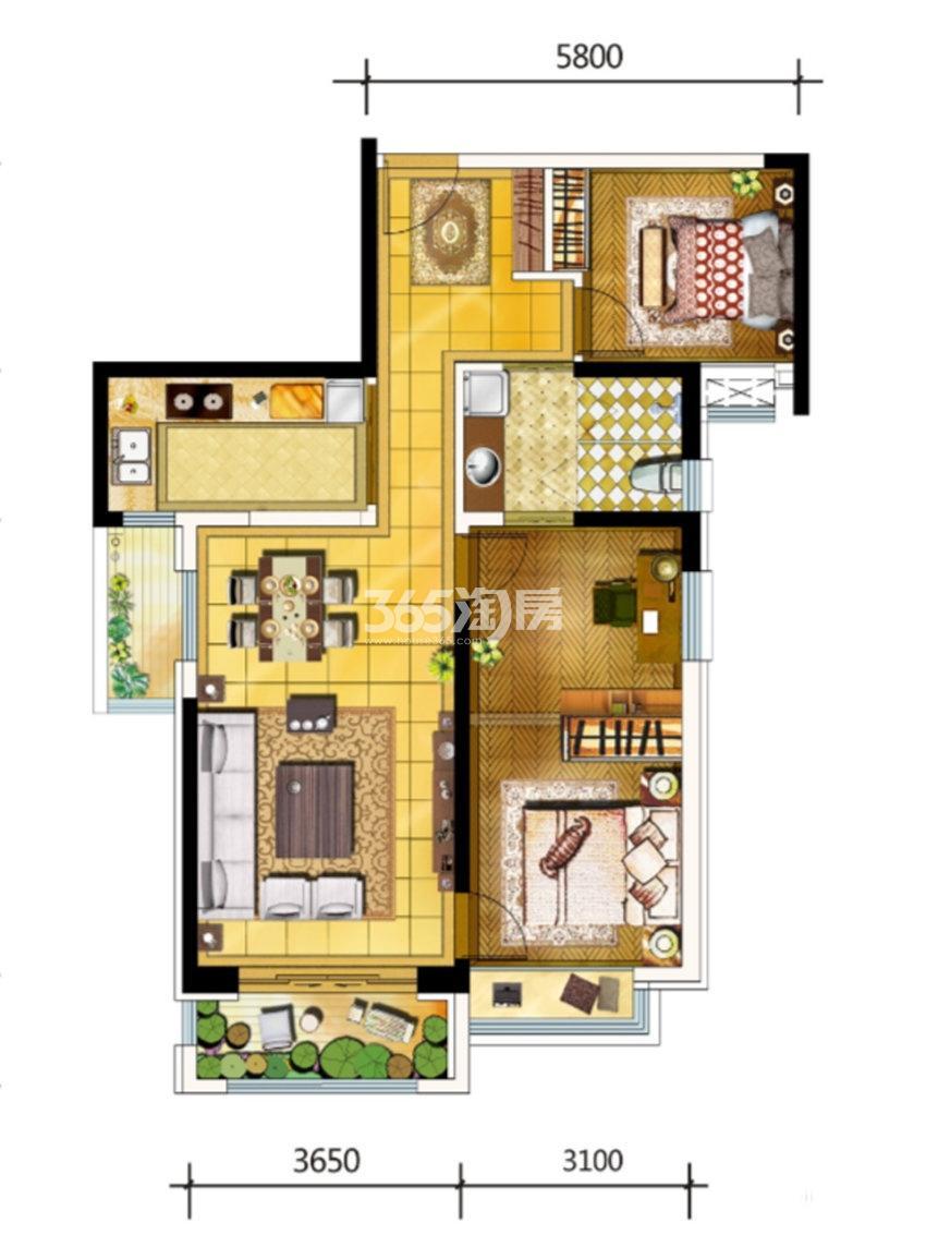 金地南湖艺境F户型2室1厅1卫1厨约97.00平米