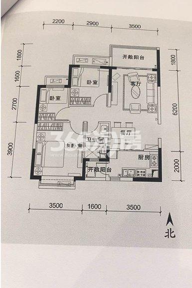 恒大翡翠龙庭3室2厅1卫1厨98.00㎡