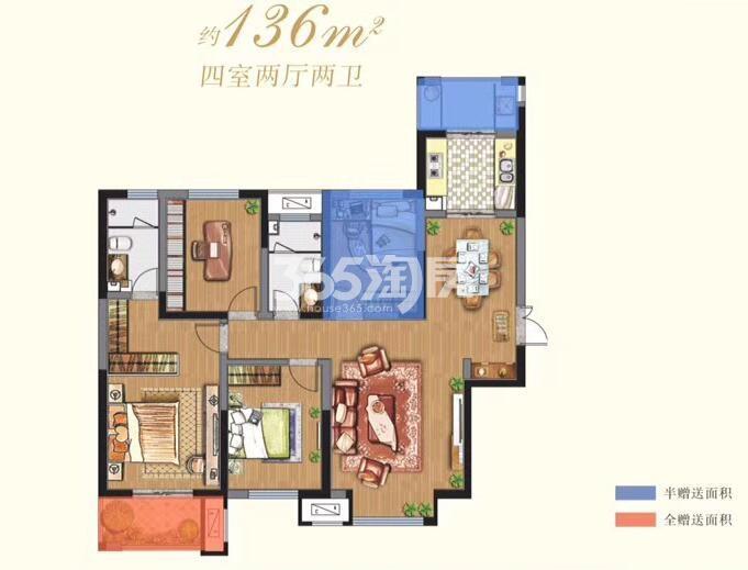 阳光城西西里 8号楼 4室2厅2卫1厨 136㎡