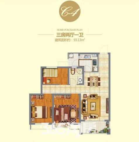 信德悦城C4户型图-93.13