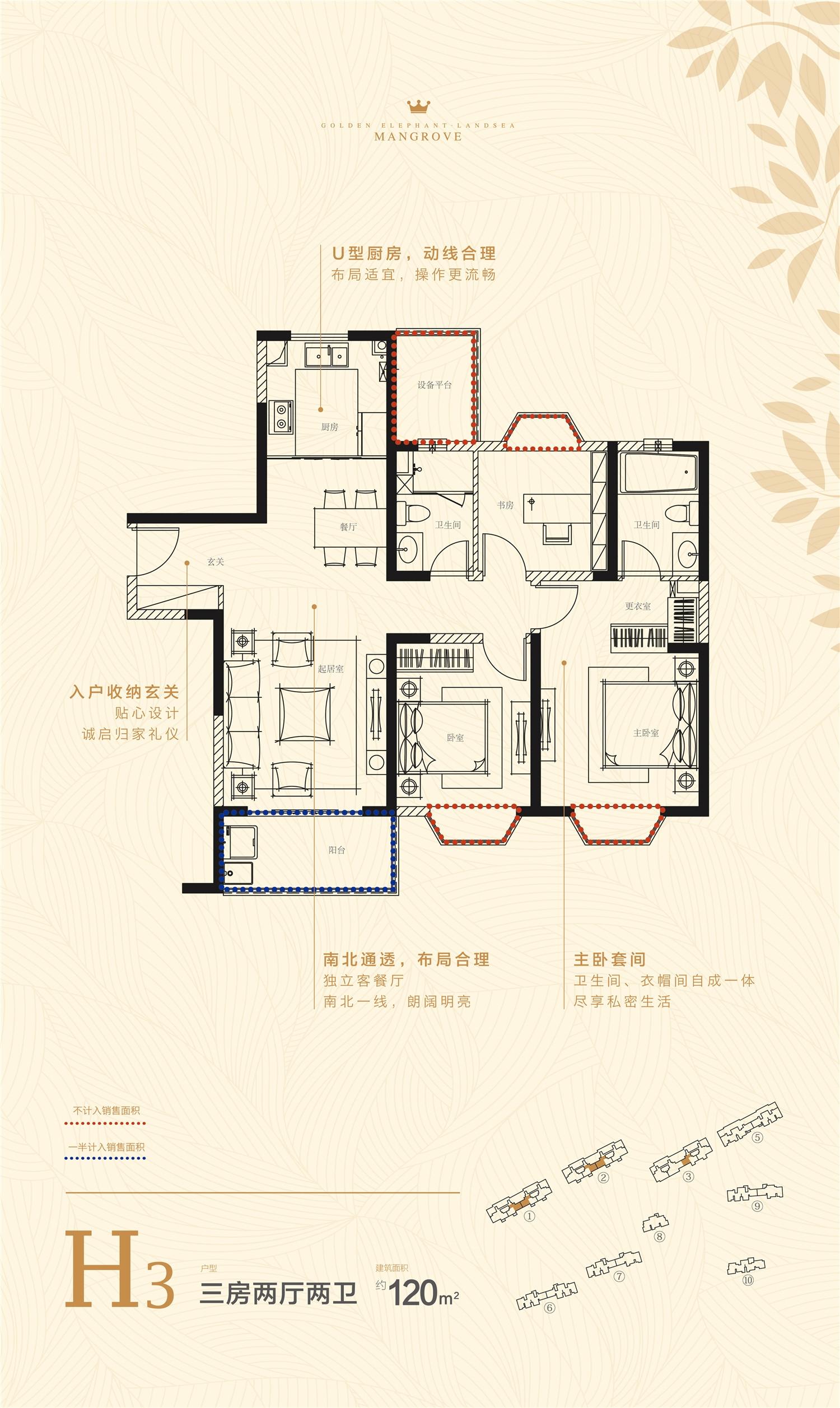 金象朗诗红树林H3-120㎡户型